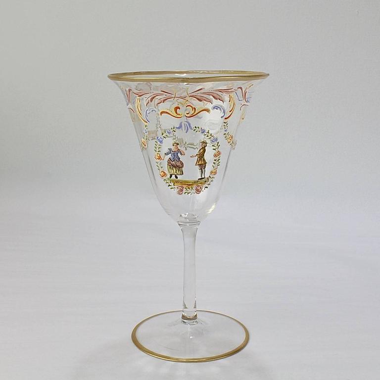 Italian Set of 12 Enameled Venetian Glass Wine or Water Goblets, 1930s For Sale