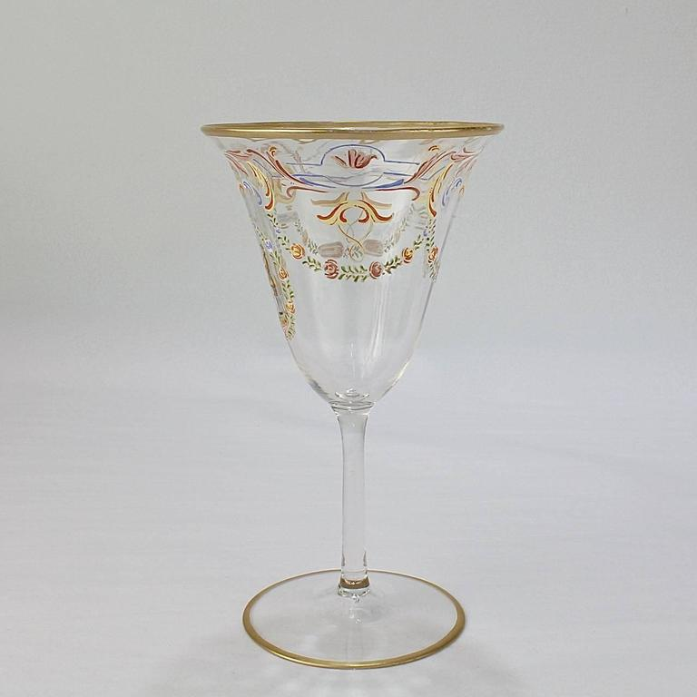 20th Century Set of 12 Enameled Venetian Glass Wine or Water Goblets, 1930s For Sale
