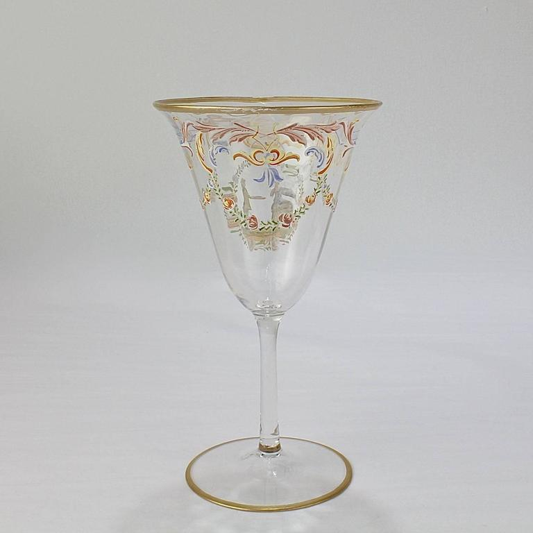 Blown Glass Set of 12 Enameled Venetian Glass Wine or Water Goblets, 1930s For Sale