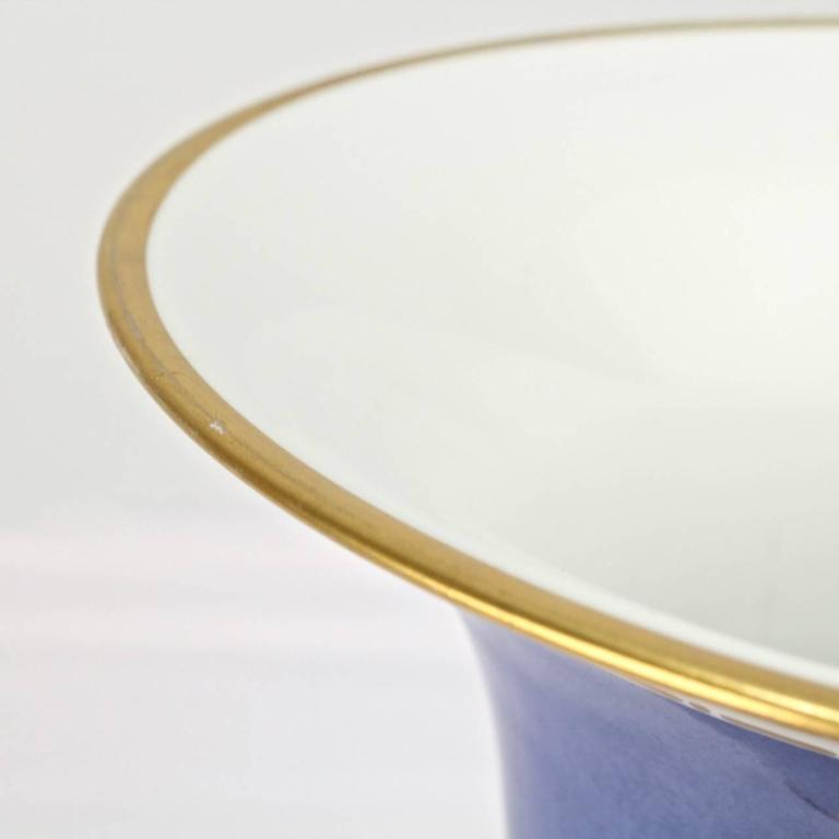 Large Nymphenburg Porcelain Powder Blue Ground Trumpet Form Flower Vase, ea. For Sale 5