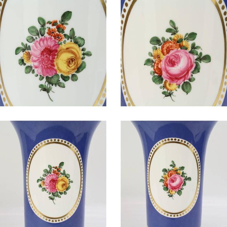 20th Century Large Nymphenburg Porcelain Powder Blue Ground Trumpet Form Flower Vase, ea. For Sale