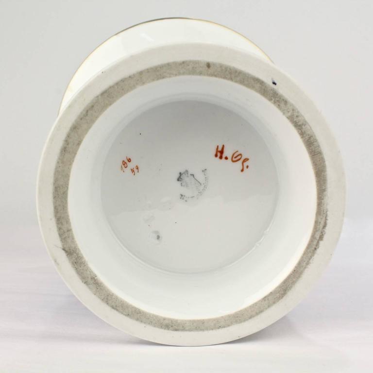 Large Nymphenburg Porcelain Powder Blue Ground Trumpet Form Flower Vase, ea. For Sale 4