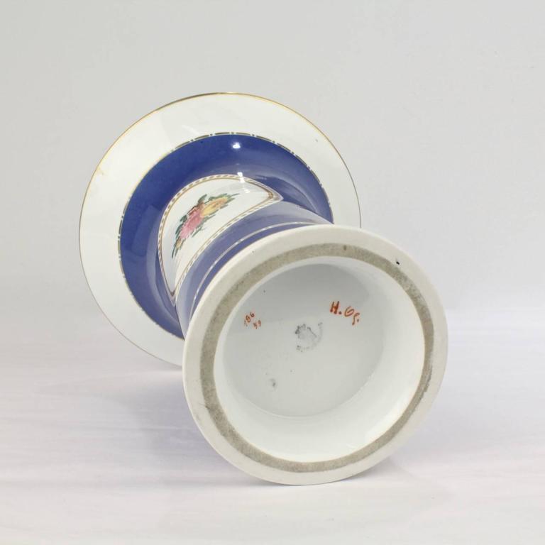 Large Nymphenburg Porcelain Powder Blue Ground Trumpet Form Flower Vase, ea. For Sale 3