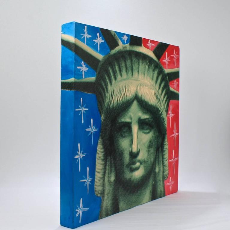 Liberty Head, an Artist's Proof Screenprint on Canvas by Sak Steve Kaufman In Good Condition For Sale In Philadelphia, PA