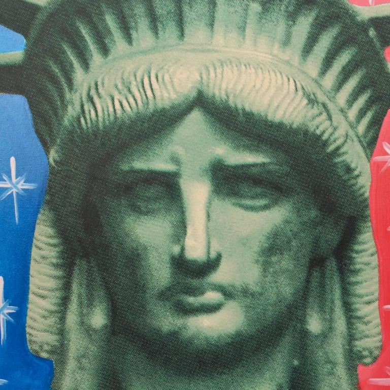 Modern Liberty Head, an Artist's Proof Screenprint on Canvas by Sak Steve Kaufman For Sale