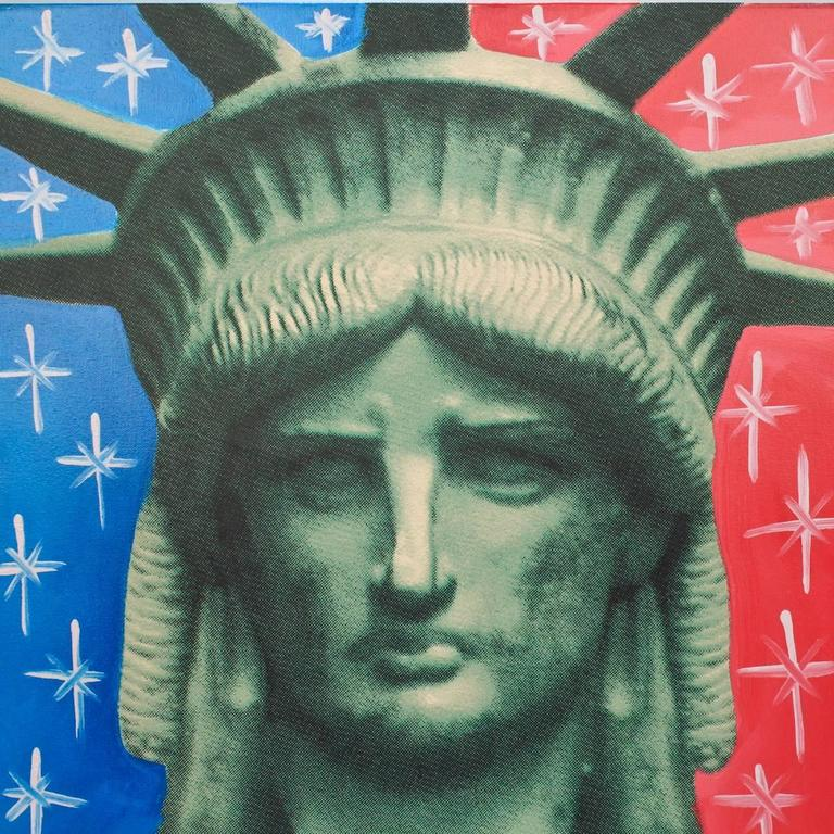 Title: Liberty head.  By: Steve Kaufman.  Date: 1990s.  A limited edition screen-print on canvas with hand embellishments (in oil).  Depicting the head of of the statue of liberty against a blue and red background embellished with