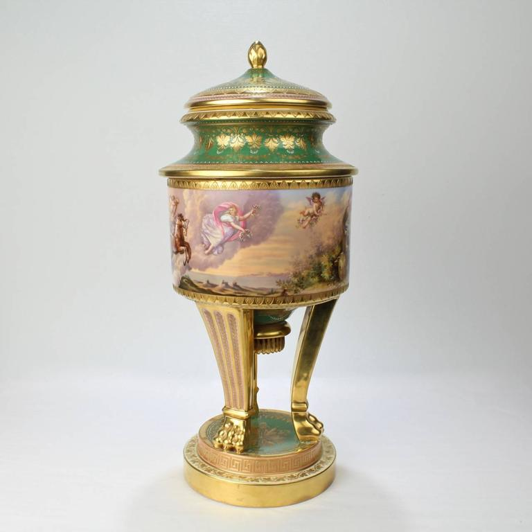 Austrian Large Hand-Painted Royal Vienna Porcelain Covered Urn or Vase, 19th Century For Sale