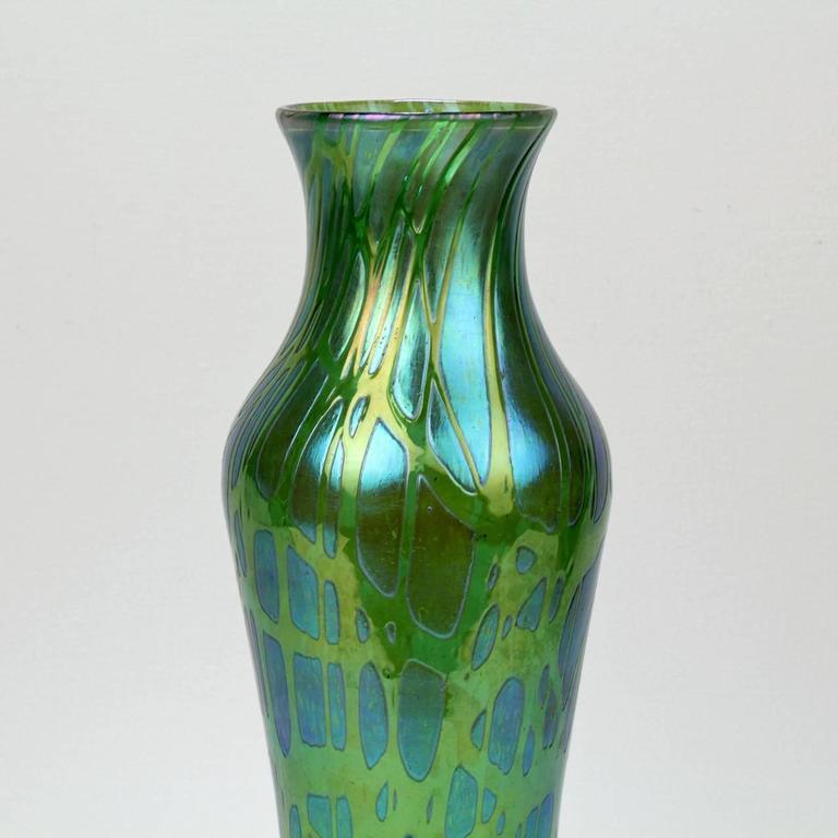 Large Antique Art Nouveau Period Loetz Green Crete Pampas Pattern