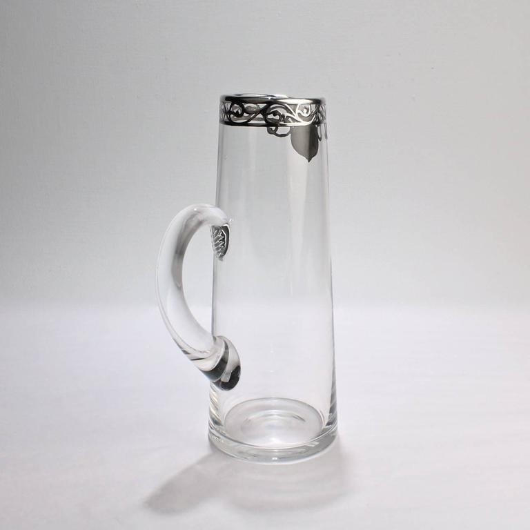 Tall Art Nouveau Sterling Silver Overlay, Cocktail Pitcher, Early 20th Century In Good Condition For Sale In Philadelphia, PA