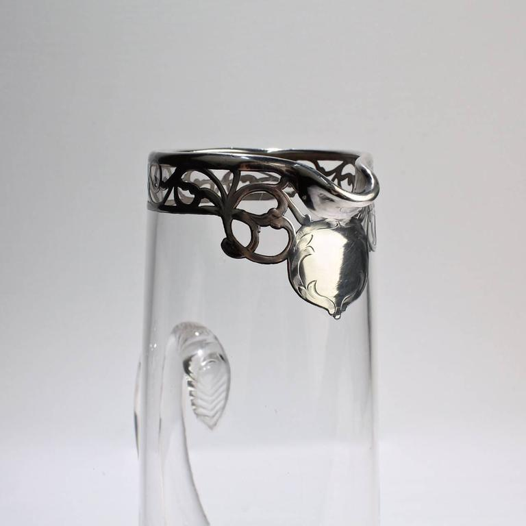 Tall Art Nouveau Sterling Silver Overlay, Cocktail Pitcher, Early 20th Century For Sale 5