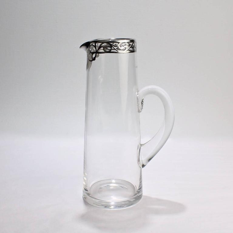 Tall Art Nouveau Sterling Silver Overlay, Cocktail Pitcher, Early 20th Century For Sale 2
