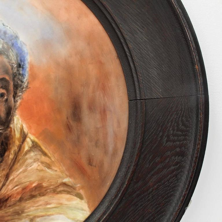 Large Hand-Painted Orientalist Limoges Porcelain Wall Plaque with a Blackamoor 7