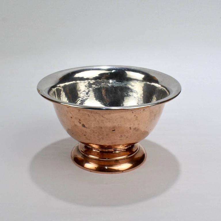 Arts and Crafts George Gebelein Boston Arts & Crafts Hand-Hammered Copper and Silver Bowl For Sale