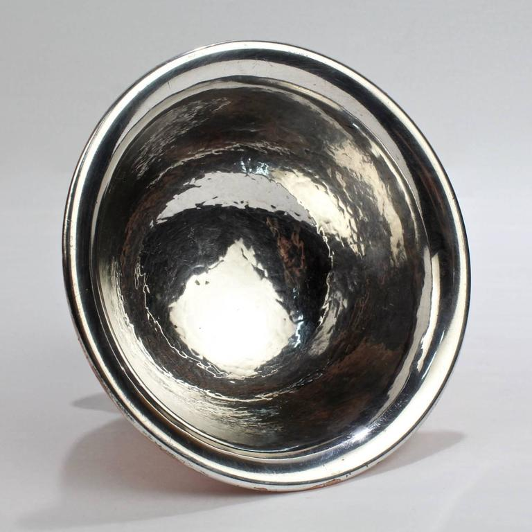 George Gebelein Boston Arts & Crafts Hand-Hammered Copper and Silver Bowl For Sale 1