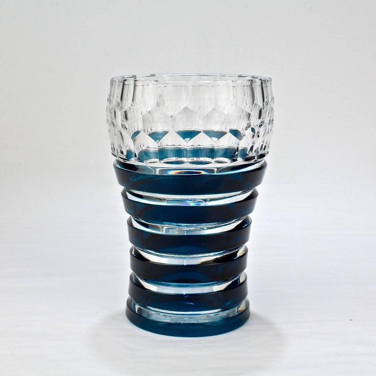 Val Saint Lambert Dark Teal Overlay Art Deco Franckenthal Art Glass Vase, 1930s In Good Condition For Sale In Philadelphia, PA