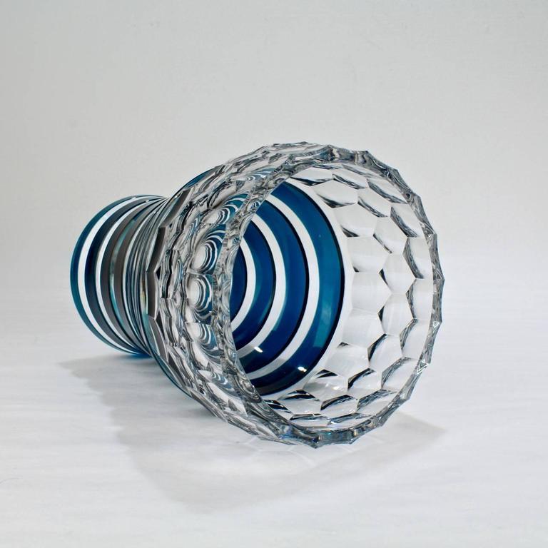 Val Saint Lambert Dark Teal Overlay Art Deco Franckenthal Art Glass Vase, 1930s For Sale 2