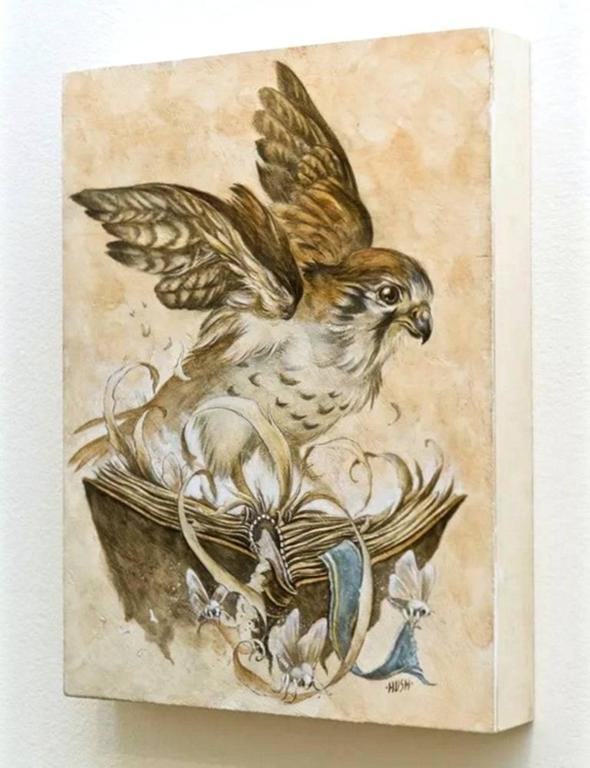 Kestrel Roost.  A graphite, watercolor, gouache (with Venetian plaster) painting on wood panel.   Measures: Height ca. 12 in Width ca. 9 in.  Signed lower right.  Jeremy Hush, a long time Punk and Heavy Metal scene illustrator long ago