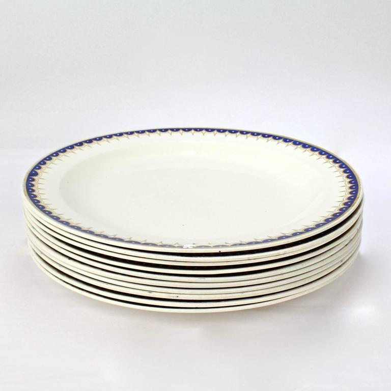 English Set of Ten Early 19th Century Wedgwood Creamware Pattern No. 892 Dinner Plates For Sale