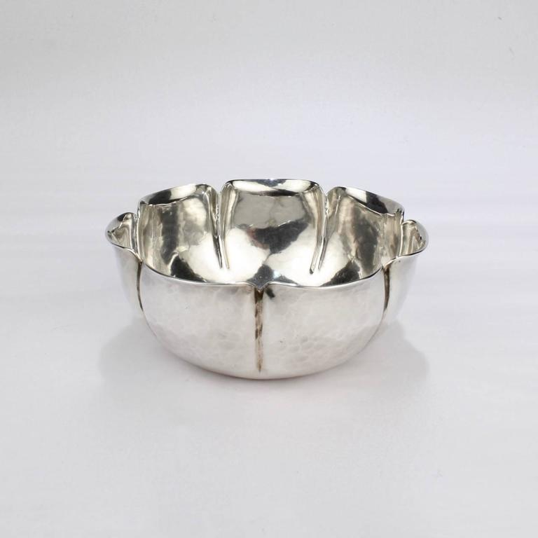 Arts and Crafts Joel F Hewes American Arts & Crafts Hand-Hammered Sterling Silver Bowl For Sale