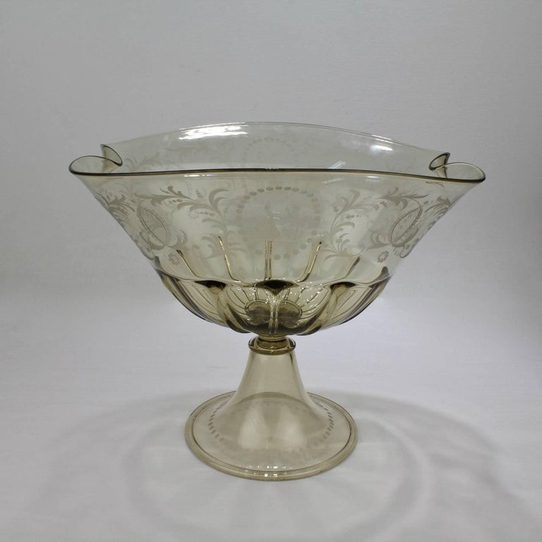 Pauly and co light amber etched venetian glass footed bowl or table centrepiece for sale at 1stdibs - Footed bowl centerpiece ...