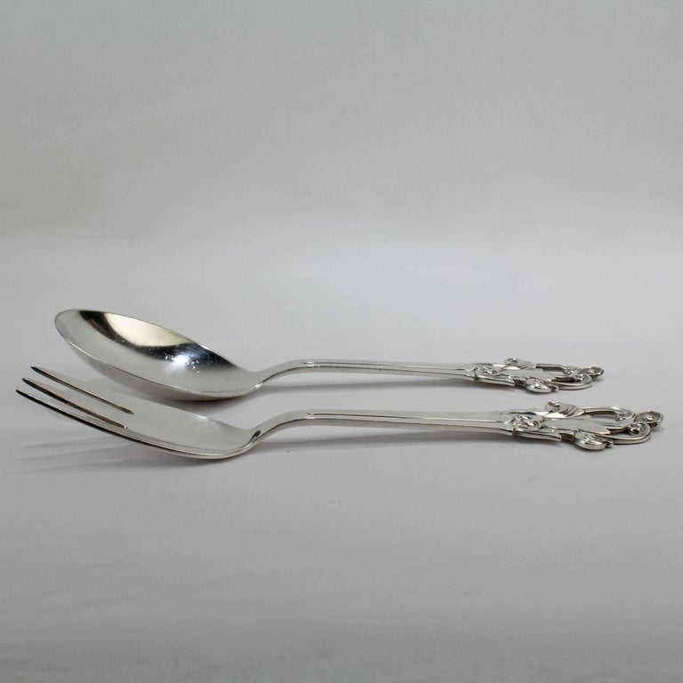 Danish Modern Sterling Silver Fork and Spoon Salad Server Set by Cohr For Sale 1