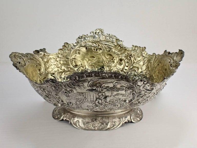 Cast 19th Century German Rococo Revival Repoussé 800 Silver Centerpiece or Bowl For Sale