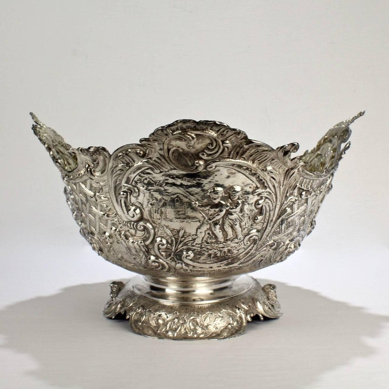 19th Century German Rococo Revival Repoussé 800 Silver Centerpiece or Bowl In Good Condition For Sale In Philadelphia, PA