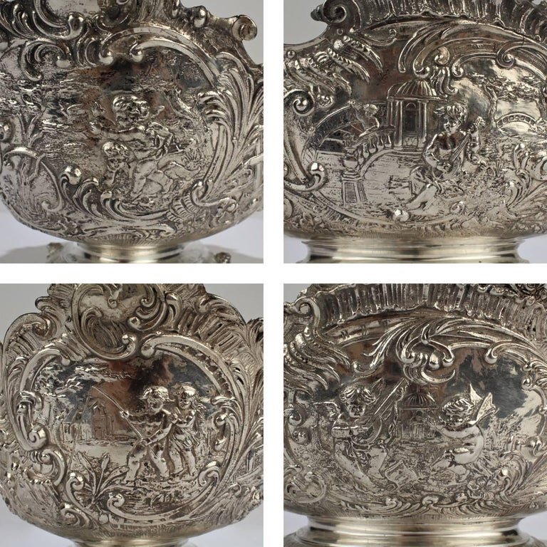 19th Century German Rococo Revival Repoussé 800 Silver Centerpiece or Bowl For Sale 3