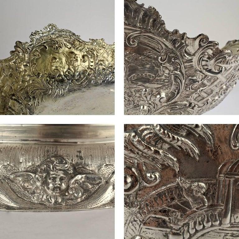 19th Century German Rococo Revival Repoussé 800 Silver Centerpiece or Bowl For Sale 4