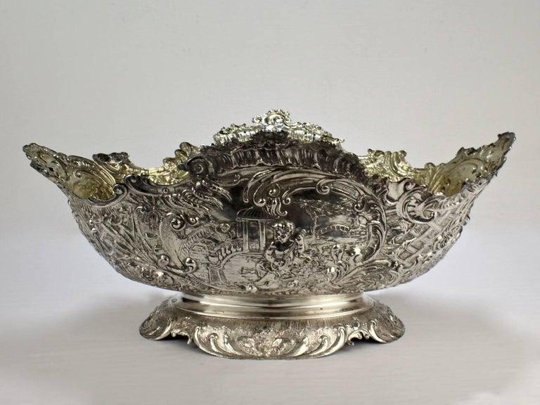 19th Century German Rococo Revival Repoussé 800 Silver Centerpiece or Bowl For Sale 5
