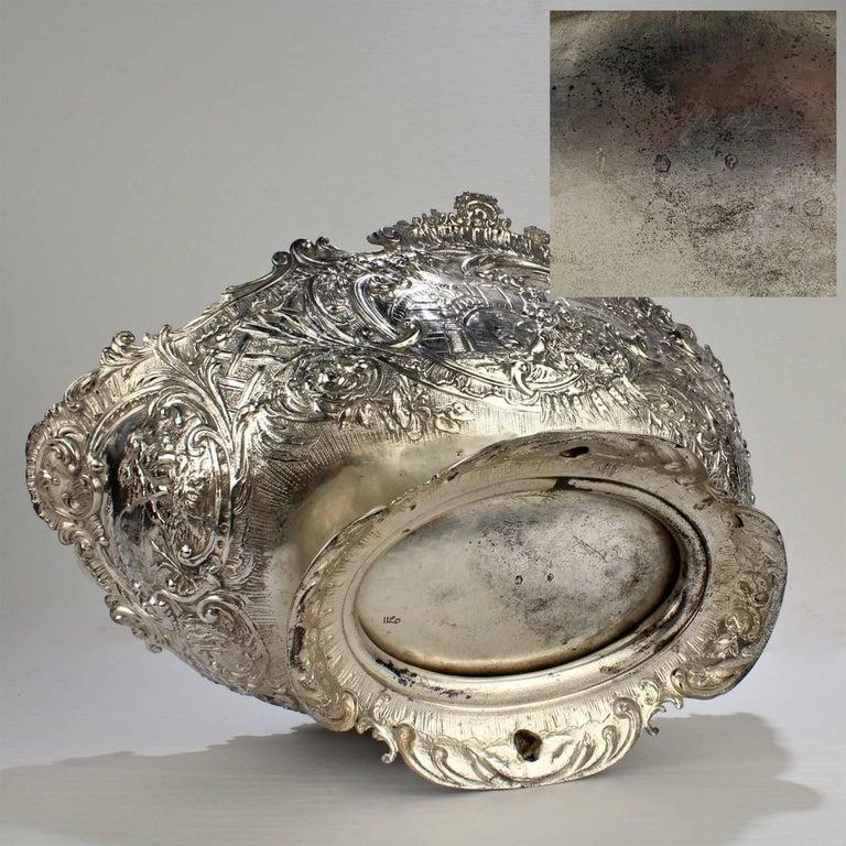 19th Century German Rococo Revival Repoussé 800 Silver Centerpiece or Bowl For Sale 6
