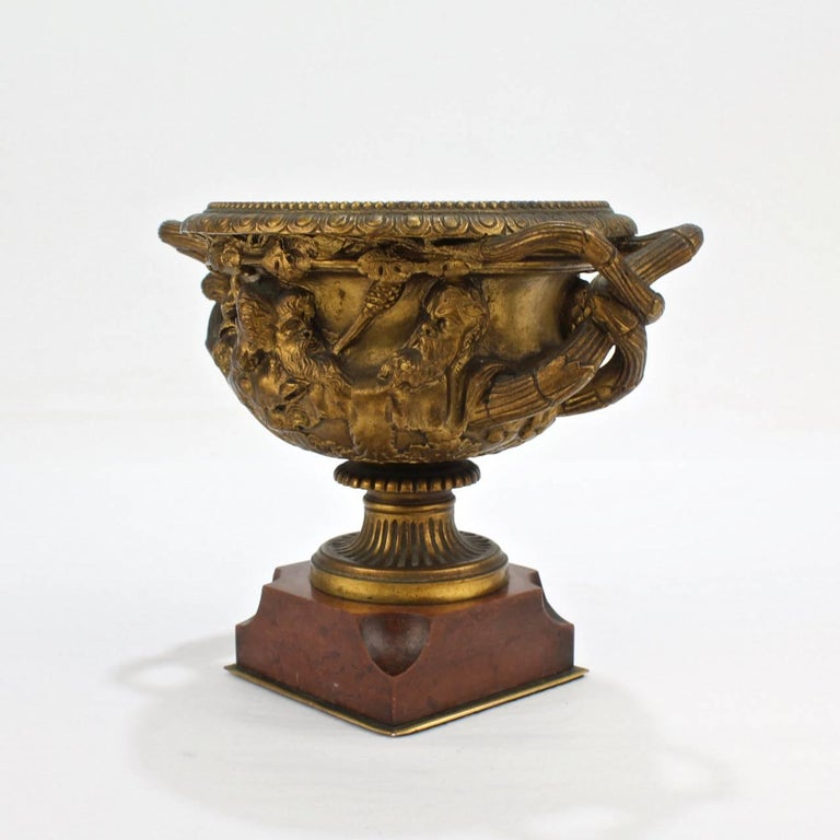 Antique 19th Century Grand Tour Cabinet Size Gilt Bronze Warwick Vase or Urn 8