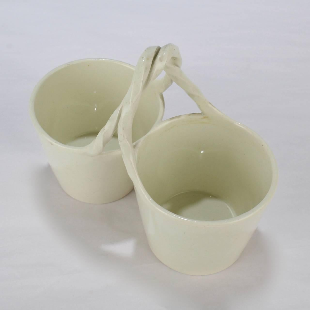 Antique 18th Century Wedgwood Creamware Basket Form Double Salt Cellar For Sale 3 : double salt cellar  - Aeropaca.Org