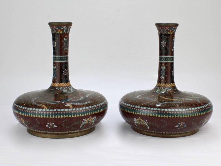 A good pair of antique Japanese large-scale Meiji period cloisonné vases.