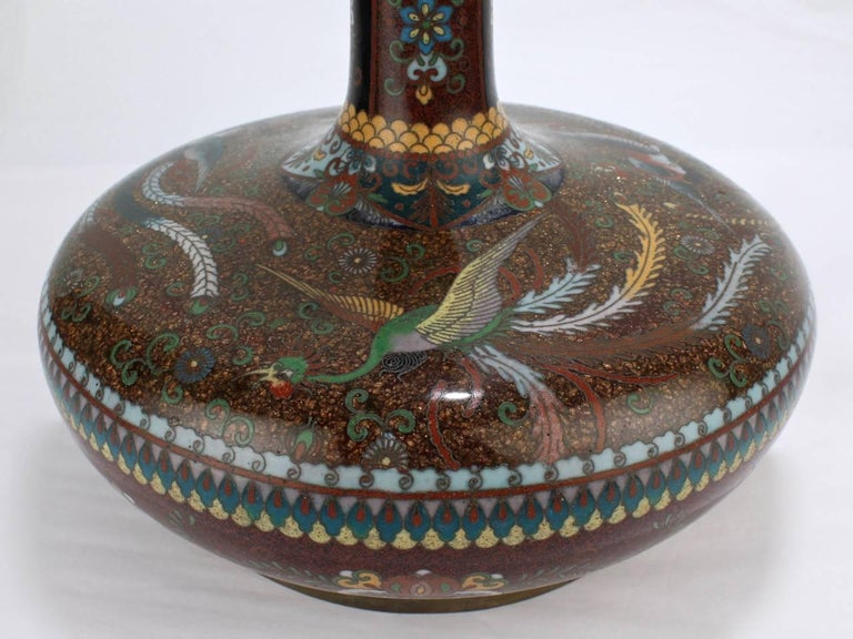 Pair of Large Antique Japanese Meiji Period Cloisonne Vases In Fair Condition For Sale In Philadelphia, PA