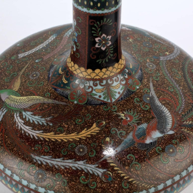 Pair of Large Antique Japanese Meiji Period Cloisonne Vases For Sale 2