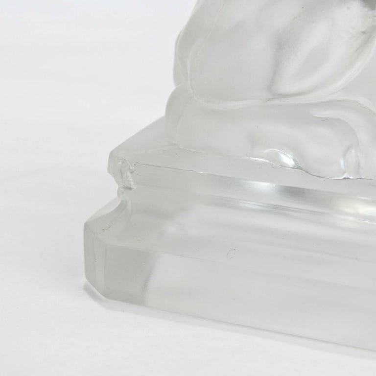 Antique French Egyptian Revival Frosted Glass Sphinx Paperweight by Saint Louis For Sale 6