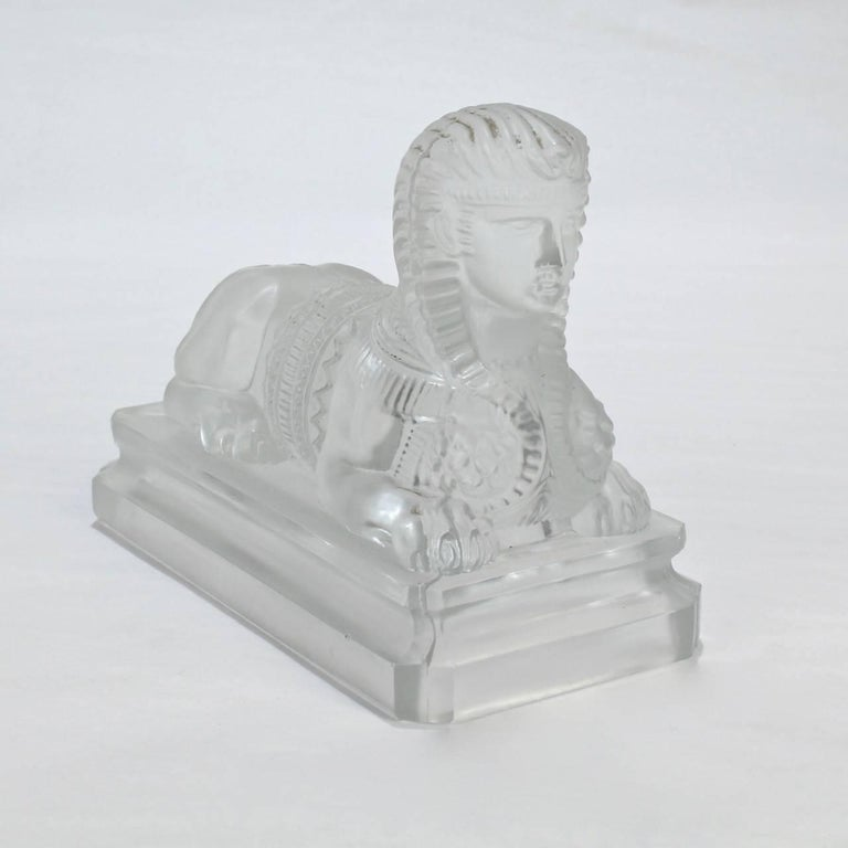 Antique French Egyptian Revival Frosted Glass Sphinx Paperweight by Saint Louis In Good Condition For Sale In Philadelphia, PA