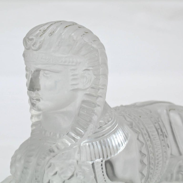Antique French Egyptian Revival Frosted Glass Sphinx Paperweight by Saint Louis For Sale 5