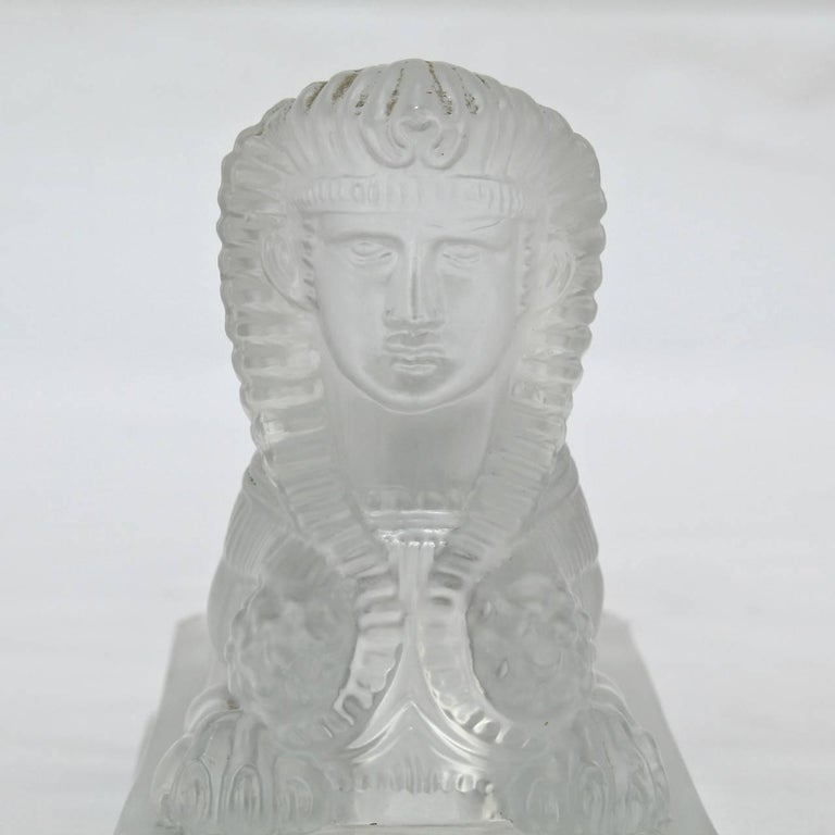 Antique French Egyptian Revival Frosted Glass Sphinx Paperweight by Saint Louis For Sale 4