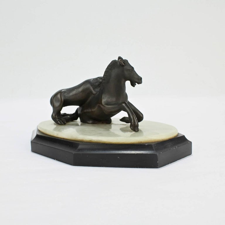 19th Century Grand Tour Lion Attacking a Horse Miniature Bronze Sculpture In Good Condition For Sale In Philadelphia, PA