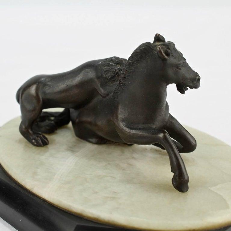 19th Century Grand Tour Lion Attacking a Horse Miniature Bronze Sculpture For Sale 2