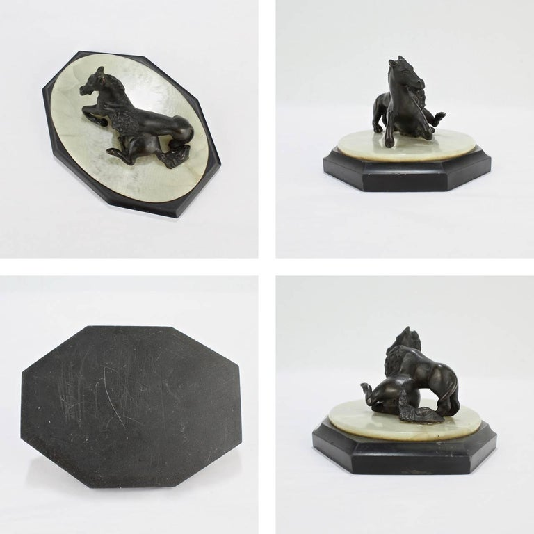 19th Century Grand Tour Lion Attacking a Horse Miniature Bronze Sculpture For Sale 4