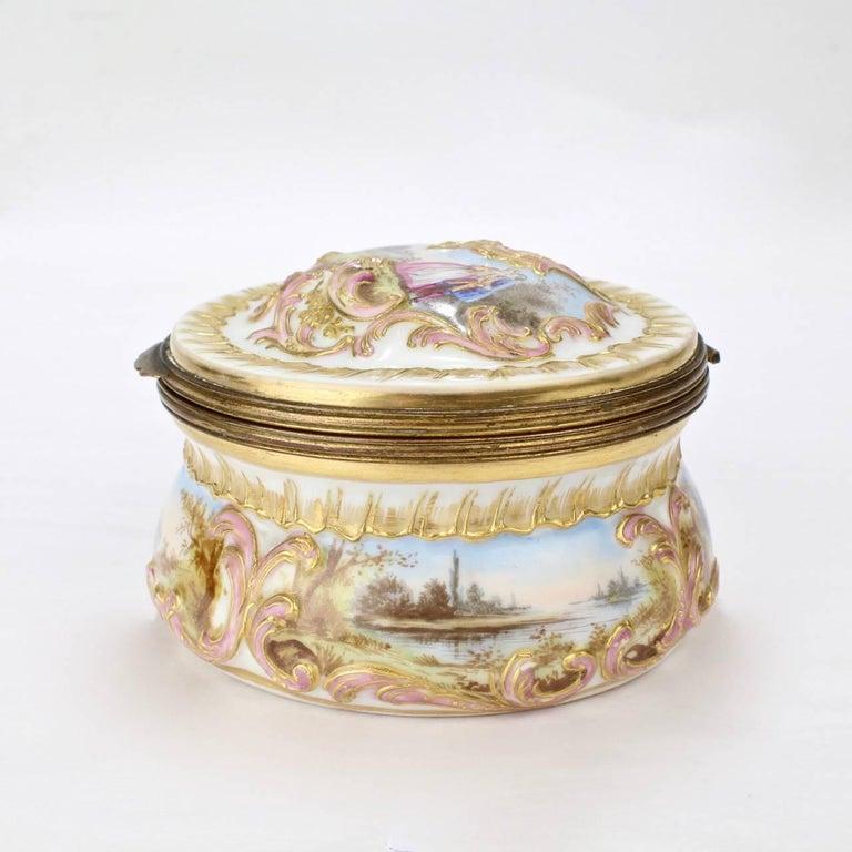 Rococo Revival Antique Gilt Paris Porcelain Table Snuff Box or Round Casket by Bloch & Bourdois For Sale