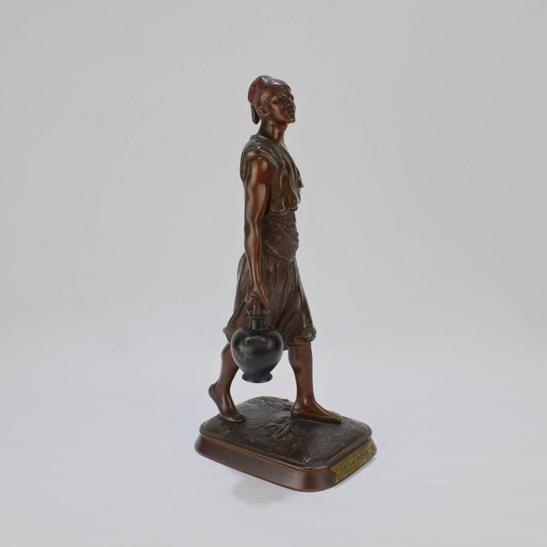 French Orientalist Bronze Tunisian Water Carrier Sculpture by Jean-Didier Debut For Sale 2