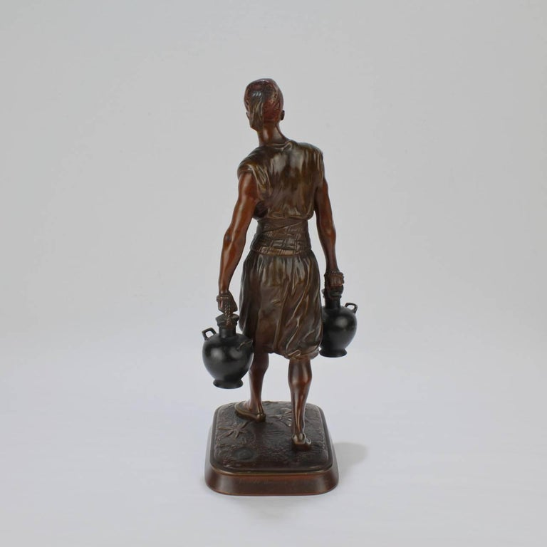 French Orientalist Bronze Tunisian Water Carrier Sculpture by Jean-Didier Debut In Good Condition For Sale In Philadelphia, PA