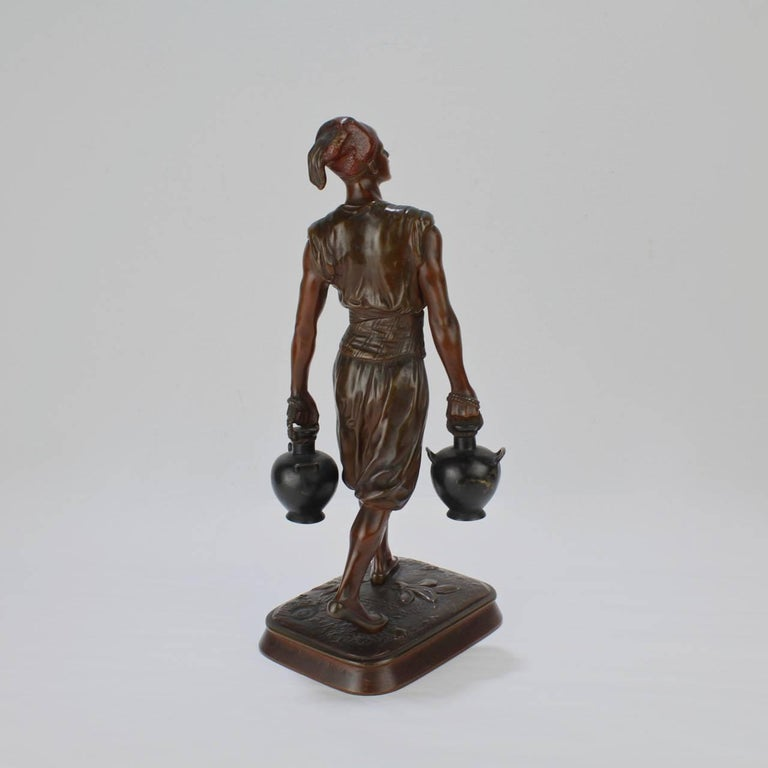 19th Century French Orientalist Bronze Tunisian Water Carrier Sculpture by Jean-Didier Debut For Sale