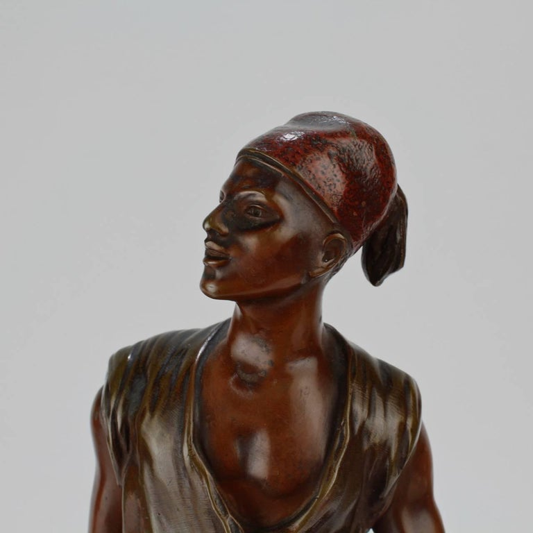 French Orientalist Bronze Tunisian Water Carrier Sculpture by Jean-Didier Debut For Sale 3