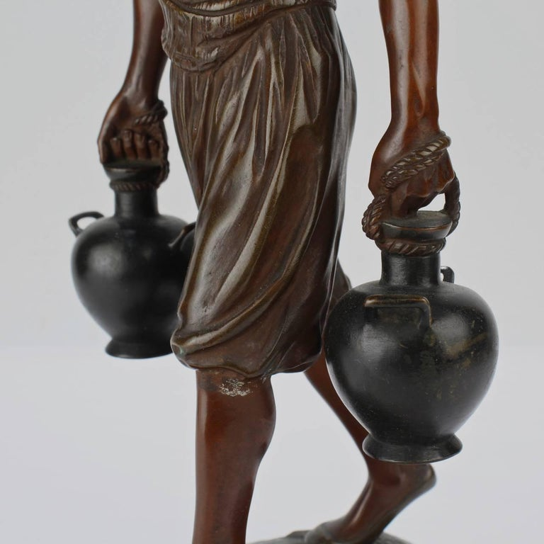 French Orientalist Bronze Tunisian Water Carrier Sculpture by Jean-Didier Debut For Sale 4