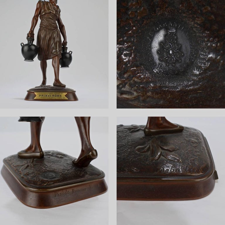 French Orientalist Bronze Tunisian Water Carrier Sculpture by Jean-Didier Debut For Sale 5